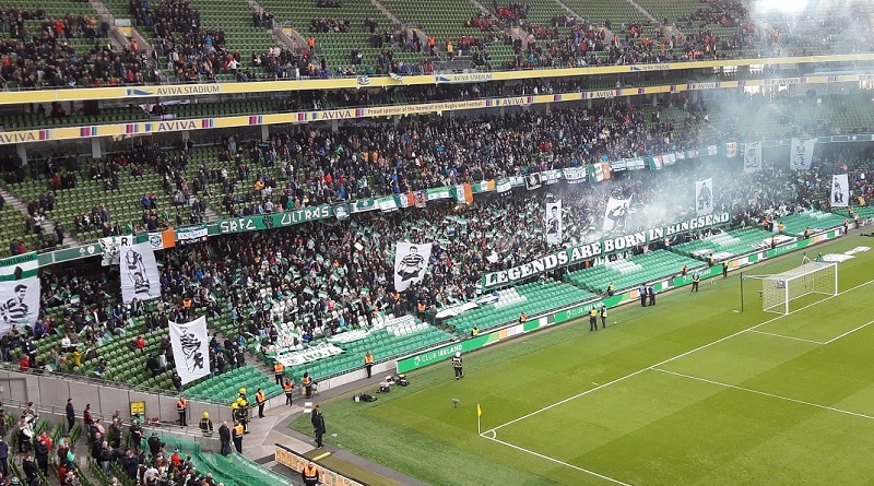 Shamrock Rovers fans at Aviva Stadium Dundalk FC - Shamrock Rovers 1-1