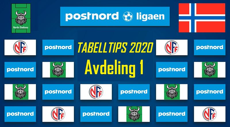 Tabelltips PostNord-ligaen 2020 Avdeling 1